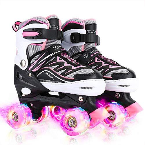 Otw-Cool Adjustable Roller Skates for Girls and Women, All 8 Wheels of Girl's Skates Shine, Safe and...
