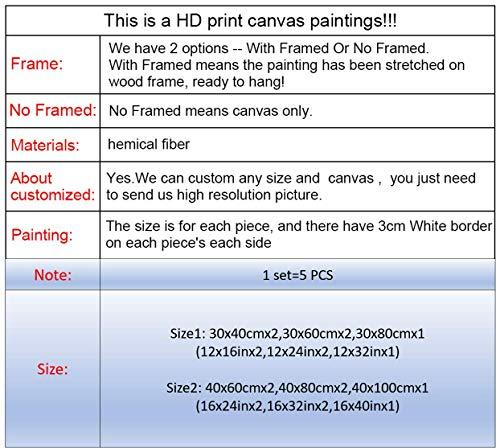 DGGDVP Pinturas de Pared Danza de la Falda roja Chica 5 Piezas Lienzo Imagen artística Pintura Arte de la Pared Decoración de la habitación Póster Lienzo Tamaño 1 con Marco