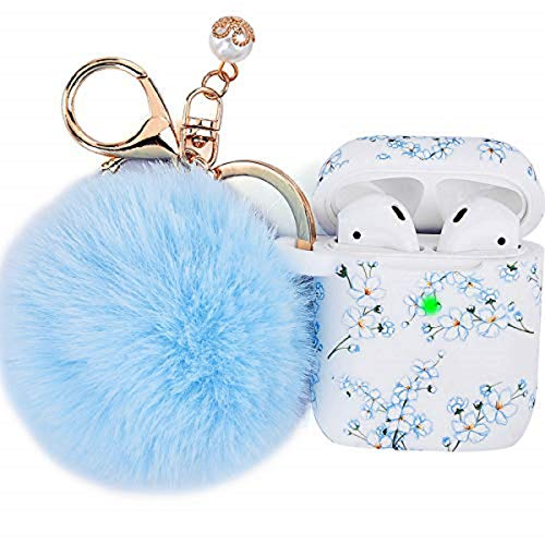 Filoto Case for Airpods, Filoto Airpod Case Cover for Apple Airpods 2&1 Charging Case, Cute AirPods Silicone Soft Case Accessories Keychain/Skin/Pompom/Strap for Women Girls Lady (Blueblossom)