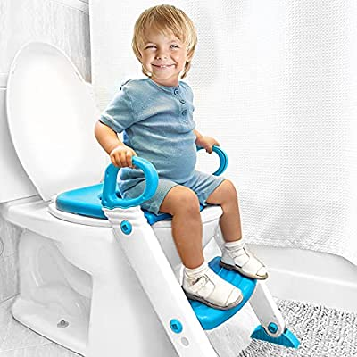 Potty Training Seat with Ladder & Upgraded Splashguard - Toilet Step Stool for Kids Toddlers w/ Handles. Sturdy, Safe & Adjustable Height w/ Anti Slip Pads. Easy Fold Trainer for Boys Girls Baby by