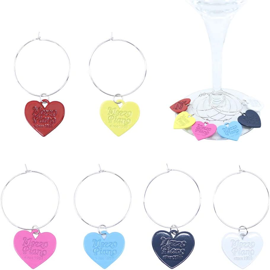 The Elixir Deco Wine Glass Heart Handmade 6-Piece Deluxe free shipping Charms -