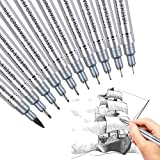 Xileyw Precision Micro-Line Pens,10 Set BlackTechnical Drawing,Brush Lettering, Fineliner, Multiliner, Black Waterproof Archival Ink, Artist Illustration, Anime, Sketching,Manga Pens WritingOffice