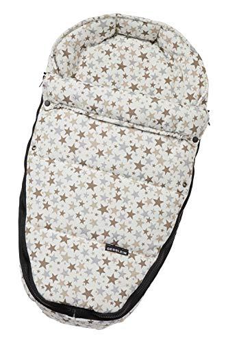 Gesslein Baby-Nestchen, 747 Sterne creme/cappuccino/eisblau, warmes Kuschelnest/Fußsack für Neugeborene und Säuglinge, für Kinderwagen Wanne, Babyschale, Bettchen und Wiege, inkl. Gurtschlitze