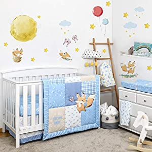 TILLYOU Luxury 6 Pieces Blue Crib Bedding Set (Crib Comforter, Crib Sheets, Crib Skirt, Changing Pad Cover, Diaper Stacker) – Microfiber Printed Nursery Bedding Set for Boys Girls – Little Fox