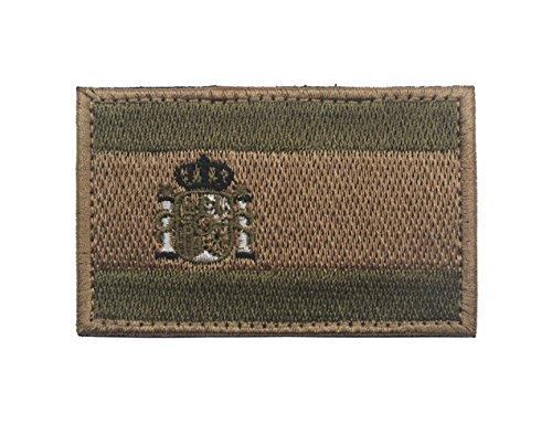 Parche bordado con bandera de España para coser 8 x 5 cm, diseño de militar militar y militar con gancho y respaldo de bucle (verde militar)