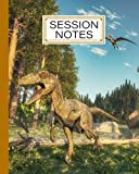 """Session Notes Log: A Logbook to Record Client Appointments, Therapeutic Interventions, Psychotherapists and Clinicians, 120 Pages, Size 8"""" x 10"""" Deinonychus Dinosaur Design by Evi Thiele"""