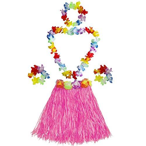 Fortuning's JDS Girl's Elastic Hawaiian Hula Dancer Grass Skirt with Flower Costume Set -Pink