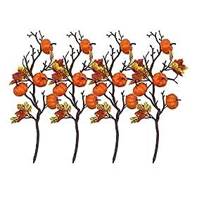 firlar artificial pumpkin branches, 4 pcs artificial maple leaf pumpkin picks, pumpkin fall stems for vases, fake pumpkin twig stem flower autumn floral picks halloween thanksgiving festival decor silk flower arrangements