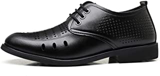 2019 Mens New Lace-up Flats Men's Formal Oxford Shoes, Lace Up Style Microfiber Leather Hollow Breathable Leisure Business