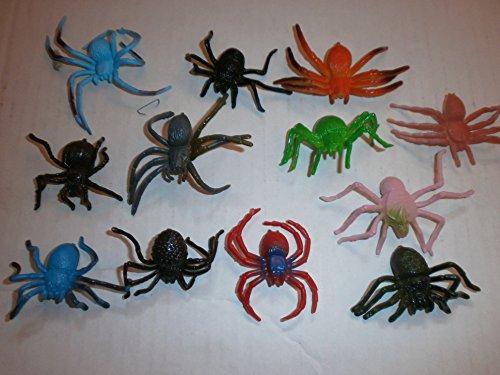 Lot de 12 araignées de 5-7 cm Déco effrayante pour Halloween