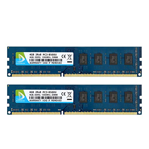 DUOMEIQI Kit da 8 GB (2 X 4 GB) DIMM DDR3 1066 MHz PC3-8500 2RX8 CL9 1.5 v (240 Pin) Modulo RAM di Memoria Desktop Senza Buffer Non ECC Compatibile con Il Sistema Intel AMD