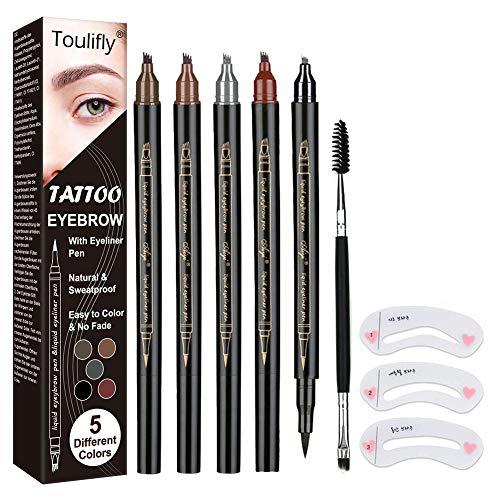Eyebrow Tattoo Pen, Tattoo Augenbrauenstift, Waterproof Long Lasting Microblading Eyebrow Tattoo-Bleistift mit Fork-Tipp, Tattoo Eyebrow Pen für Natürlich Augen Make-up