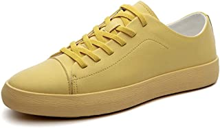 Shangruiqi Men's Classical Athletic Shoes Round Toe Casual Personality Stitching Lace up Soft Solid Color Leisure Shoes Anti-Wear (Color : Yellow, Size : 8 UK)