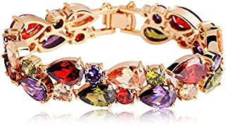 Swarovski Elements women's Unique Luxurious colorful bangle Crystal gold Plated Charm Bracelet Jin53