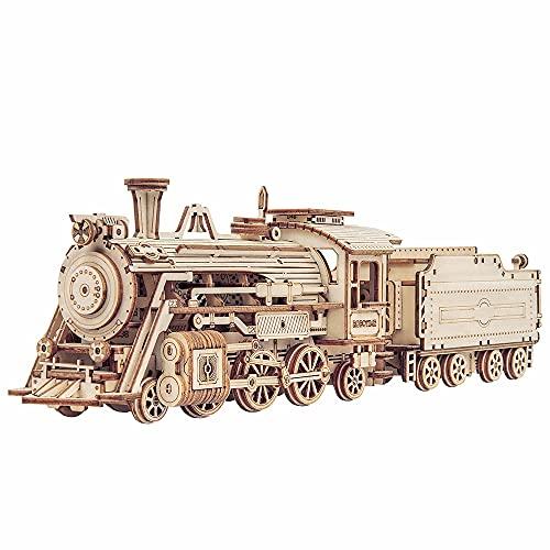 Robotime Puzzle 3D Tren Madera Maquetas para Construir Adultos Maquetas para Montar Mecánica Construcción Laser Cut Puzzle
