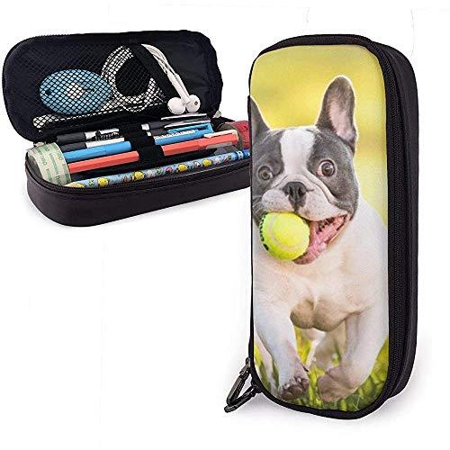 Bulldog francés Pelota de tenis Bolso de cuero de la PU Bolsas de almacenamiento Bolso de papelería para estudiantes Bolso multifunción