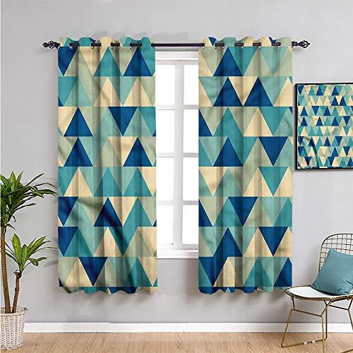Pcglvie Cortinas opacas abstractas triangulares de alta calidad, cortinas de 160 cm de largo, diseño retro con diamantes de imitación, muebles protectores de 106 cm de ancho x 160 cm de largo