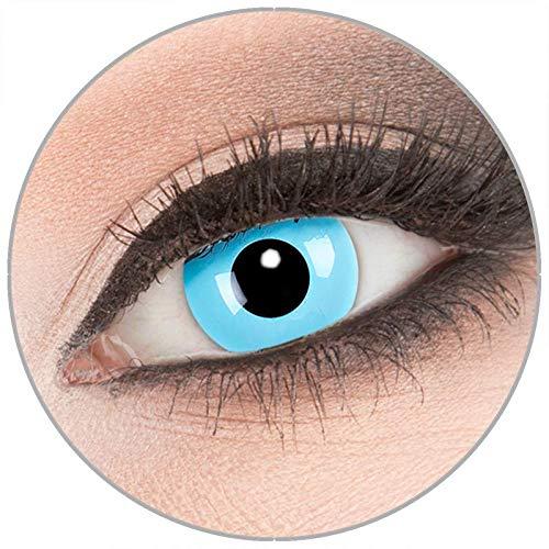 Farbige 'Sky Angel' Kontaktlinsen von 'Evil Lens' zu Fasching Karneval Halloween 1 Paar blaue Crazy Fun Kontaktlinsen mit Kombilösung (60ml) + Behälter in Topqualität ohne Stärke