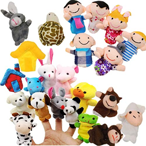 JZK 24 Burattini a Dito Animali pupazzetti Dita Set Giocattoli animaletti Peluche Piccoli Pensiero regalino bomboniera Festa Compleanno Bambini Bimbi