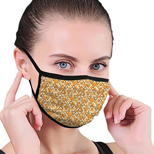 Comfortable Windproof mask,Abstract Triangle Silhouette and Outlines Big and Small Funky Retro Style,Printed Facial Decorations for Women and Men