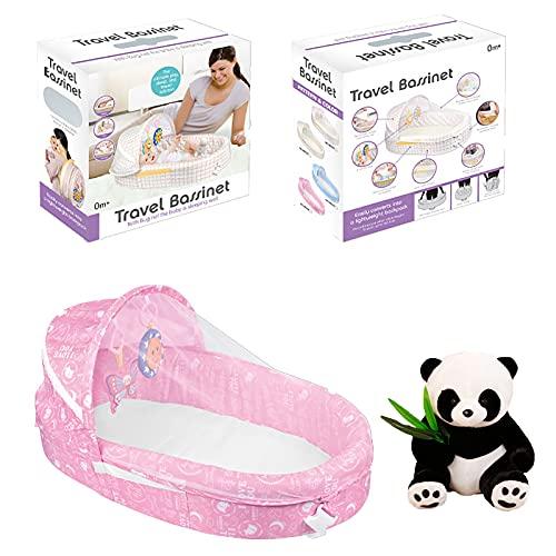 Cuna portátil Nido de bebé Plegable con mosquitera Esenciales recién Nacidos Paquete de Colores Viene con muñecas Panda y Juguetes Musicales,Rosado