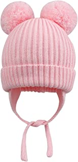 Roritadress Childrens Knitting Cap,Toddler Baby Knit Hat Scarf Winter Warm Beanie Cap with Double Pom Pom