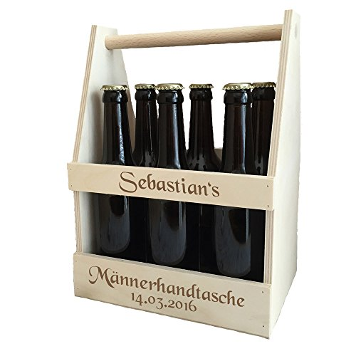 Männerhandtasche/Bierträger mit kostenloser Gravur - echter Sixpack als Geburtstagsgeschenk | Männergeschenke | Biergeschenke