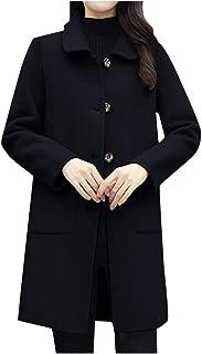 Succper Women's Winter Coats Lapel Single Breasted Long Wool Blend Coat with Pocket Overcoat