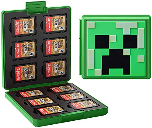 JINGDU Estuche de Tarjetas de Juego para Nintendo Switch Estuche Protector a Prueba de Golpes con 12 Ranuras para Cartuchos para Switch NS NX (Green World)