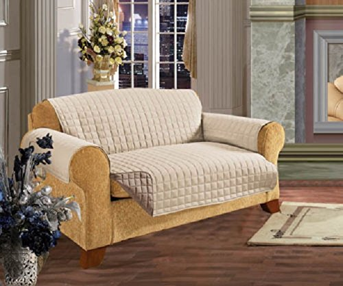 viceroy bedding 3 Seater Sofa REVERSIBLE Protector CREAM/BEIGE 63'' x 70.5'' Luxury Quilted Furniture Cover Sofa/Settee THROW Water Resistant
