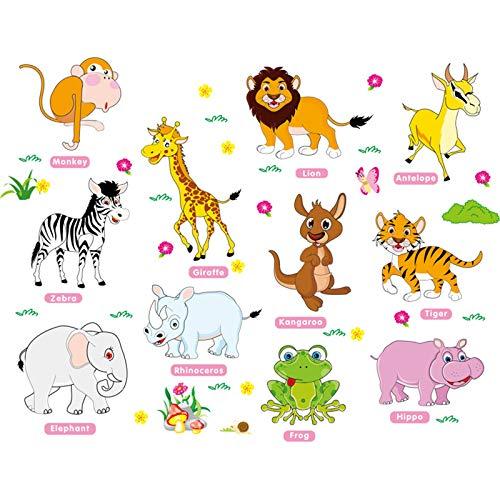 ROERDTRY Wandaufkleber Safariparty Wandbild Wandtattoo Mädchen Kinderzimmer Aufkleber Junge Deko Sticker Niedliche Cartoon-Tier-Früherziehungswand kreative Kinderzimmer-Wandaufkleber