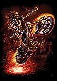 Hell Biker Fire Motorrad Fahrzeug Feuer - Posterflagge 100% Polyester - Grösse 75x110 cm