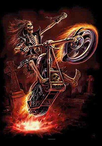 Clair Biker Fire Moto Véhicule de feu Poster – Drapeau 100% polyester – Taille 75 x 110 cm