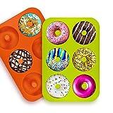 Molde para Donut,2 Unidades Silicona para Donuts Molde,6 Cavidades Bandeja de Rosquillas Antiadherente para Tartas,Magdalenas,Galletas (color2)
