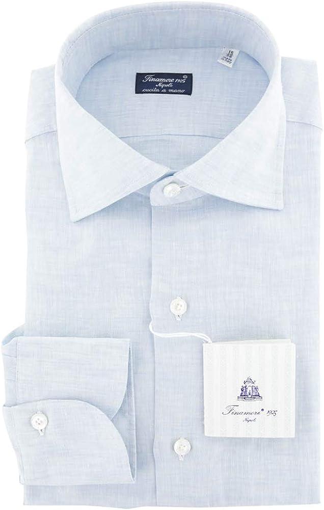 Finamore Napoli Stripes Button Down Spread Collar Linen Slim Fit Dress Shirt