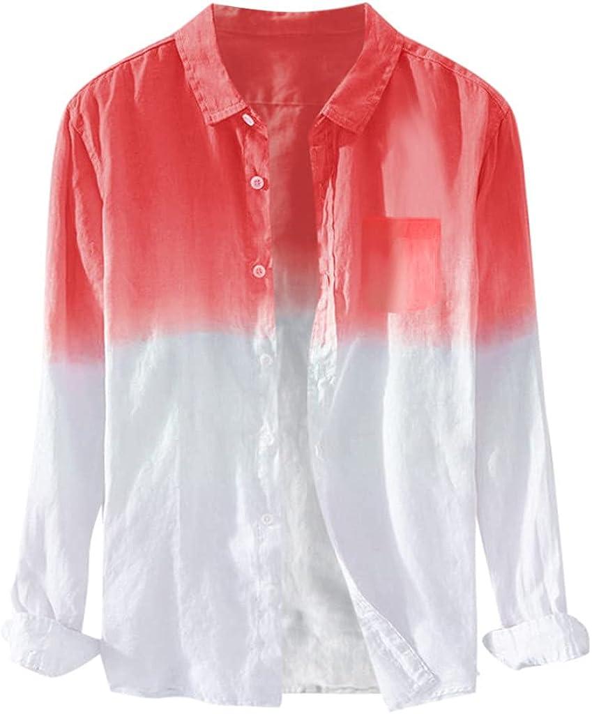 WUAI Men's Long Sleeve Linen Shirts Casual Button Up Loose Fit Beach Summer Cotton Hippie Yoga Tops