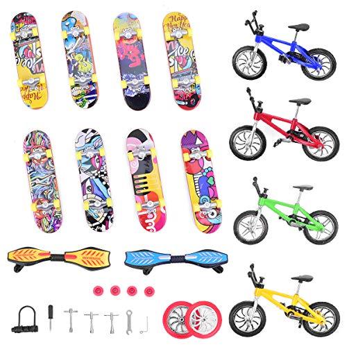Loscrew Mini Finger Sports Set Skateboards Bicicletas Balancines Tabla Ruedas de Repuesto y Herramientas para Favoritos, Juguetes Pedagógicos de dedos (27 unidades)