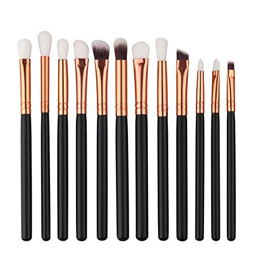 Maquillage des yeux Brosses multifonctions avec manche en bois Pinceau fard à paupières Eyeliner pinceau à poils souples synthétiques (noir) 12pcs