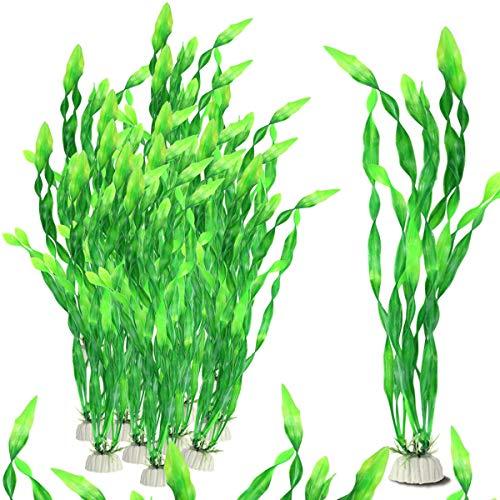 FIREBOOMOON 16 PCS 12 Inch Artificial Seaweed Water Plants,Plastic Green Fish Tank Plant Decorations for Home Office Aquarium