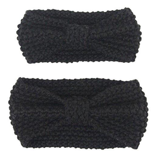 FSSTUD Mère Fille Bandeau Maman Bébé Bandeau Cheveux Tricot Hiver Elastique Coiffure Bandeaux Noir