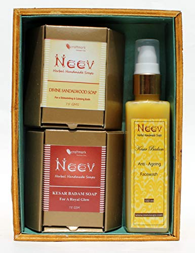 Neev Herbal Handmade Soaps Box -Combo of 2 Soap (75 Gms Each) and Face Wash