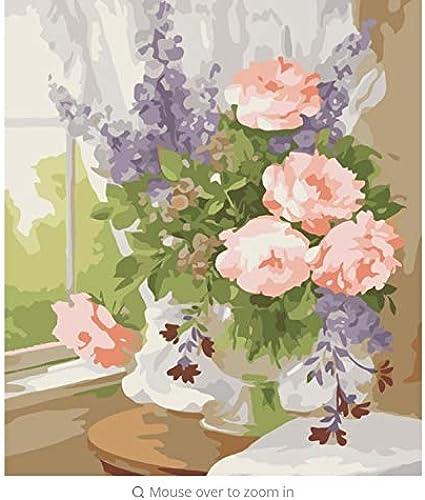 LIWeißY DIY F ung by Zahlen  em e by Zahlen Leinwand Bilder Für Wohnzimmer Vase Blaume Dekoration Wanddekor Geschenk - Mit Rahmen - 50x6cm