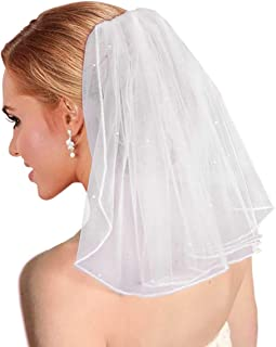 Bridal Wedding Veil Women's Short Vails with Rhinestone Tulle for Bachelorette Party 38cm/15""