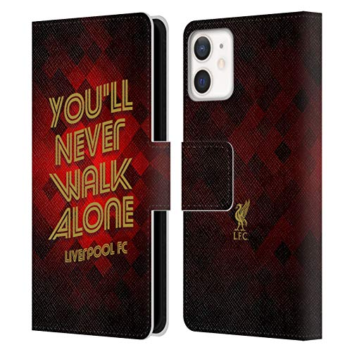Official Liverpool Football Club Red Pixel Ynwa Retro Liver Bird Ynwa PU Leather Book Wallet Case Cover Compatible For Apple iPhone 12 Mini