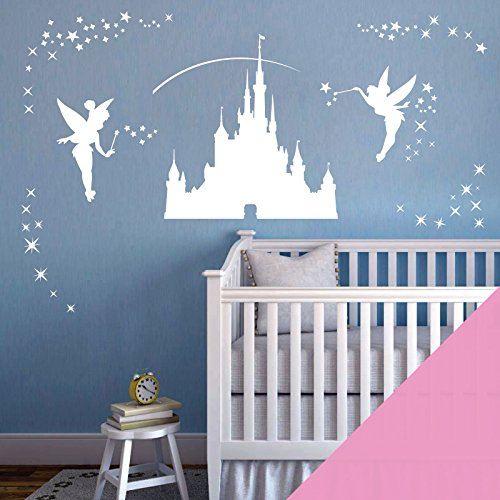 Disney Castle Mädchen Art Wand Aufkleber – Fairies Fee Tinkerbell Sterne, rose, Large (Castle Size: 575 x 575mm)