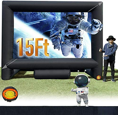 Sewinfla 15Ft Outdoor and Indoor Inflatable Movie Projector Screen with Blower, Supports Front and Rear Projection, Blow Up Mega Movie Screen for Party, Easy to Set Up