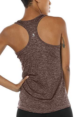 icyzone Débardeur de Sport Femme Dos Nageur Yoga Shirt sans Manches Running Fitness Tank Top (M, Brun-Rouge)