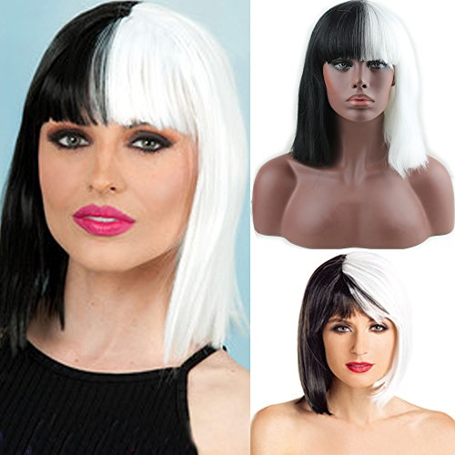 Perruque Eseewigs pour Halloween, coupe au carré droite avec frange, synthétique, noire et blanche, pour femme, perruque de cosplay bicolore pour femme
