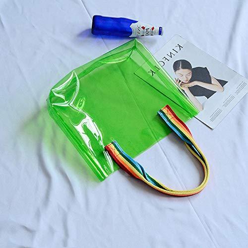 Zay Luay Inicio Olorful Impermeable PVC Viaje Bolsa de Almacenamiento Borrar Bolsa de Asas al Aire Libre de Playa Grande (Color : Green)
