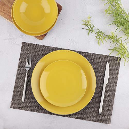 Amazon Basics 18-Piece Stoneware Dinnerware Set - Sunshine Yellow, Service for 6